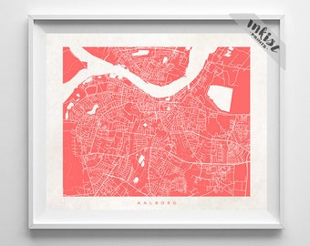 Aalborg Map Print, Denmark Print, Denmark Poster, Aalborg Art, Giclee, Dorm Art, Dorm Artations, Dorm Wall Decor, Dorm Decor