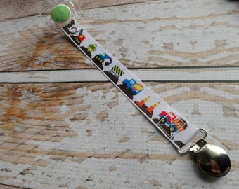 Baby Pacifier Clip - Construction Zone Civil Engineer Baby Dump Truck Digger Bull Dozer  (Feltie or Shabby Rose Option)