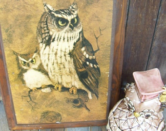 Screech Owls on Wood Frame by Richard Hanger, 1970, Wood Plaque, Owls Perched on a Branch