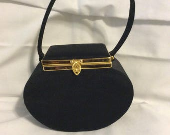 Vintage top handle clutch with mirror