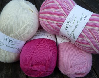 WYS, West Yorkshire Spinners Signature Sock Yarn, 4 ply, Wool and Nylon