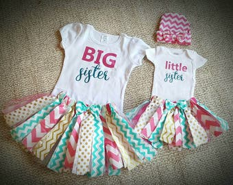 Coordinating sibling outfits!! Big sister little sister outfits with hat or headband!!