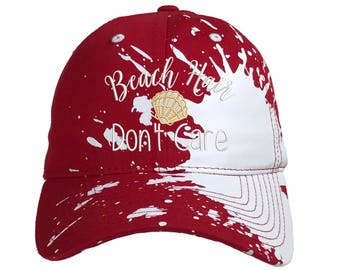 BEACH HAIR Don't Care Bleached Splatter Dad Hat, Embroidered Summer Beach Baseball Cap Hats, Red