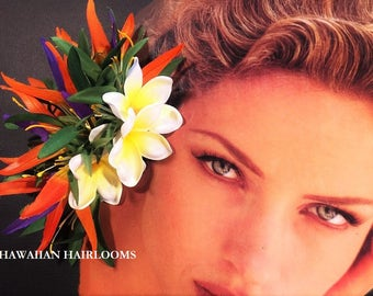 BIRDS of PARADISE-Tropical flower hair clip.Hawaiian headpiece.silk flowers,bird of paradise,plumeria.Hula,pinups,bridal,wedding,Hawaii.