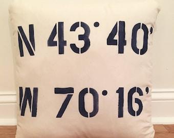 Latitude/Longitude Pillow //Weddings/Housewarming/Lake House/Beach House