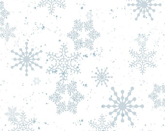Gray & White Snowflake Fabric, Clothworks Creature Comforts Y1684-1, Christmas Fabric, Winter Quilt  Fabric, Barb Tourtillotte, Cotton
