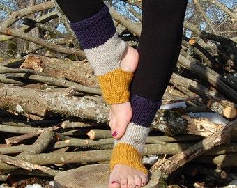 Knit Yoga Socks, Pedicure Socks, Toe-less Socks, Knit Yoga Spats, Multicolor Flip Flop Socks, Piyo Socks, Yoga Wear, Hand Knit Dance Socks