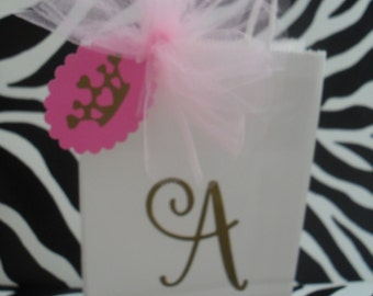 Pink And Gold Monogram  Party Favor Bags - Set Of Six