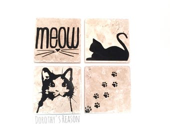 Cat Coasters, Cat Home Decor, Gifts for Cat Lovers, Custom Coasters, Cat Decor, Cat Gifts, Housewarming Gift, Home Decor with Cats