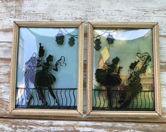 Antique reverse silhouette painting on convex glass / antique wood frames / dancer and jester / music / entertainment /