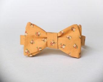 Golden Yellow Floral Bow Tie || 100% Vtg Cotton