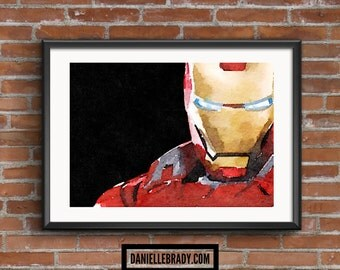 Iron Man Digital Art Watercolour Printable Art Downloadable Print