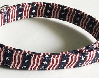 Striped Patriotic 4th of July Dog and Cat Collar