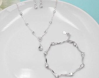 Rhinestone Jewelry Set, Crystal Wedding Necklace Set, bridal jewelry set, wedding jewelry set, bridesmaid jewelry set 512222393