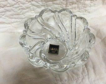 Mikasa Peppermint Swirl Candle Holder, Made in Germany, Crystal Swirl Candle Holder, Votive Holder, Crystal Bowl, Candy Dish, Trinket Dish