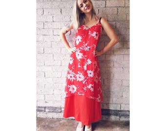 SALE | Vintage Late 1960s Red Summer Maxi Dress with Floral Chiffon Panels Size Small
