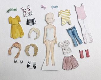 Premade Paper Dolls | magnetic watercolor portrait