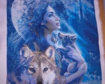 Woman with wolfs. Cross Stitch Embroidery.