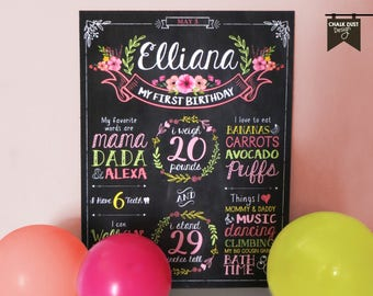 """Custom Floral, boho chalkboard style first or any age birthday milestone poster. Flowers, wreaths, banner, vintage  18 x 24"""" poster, sign"""