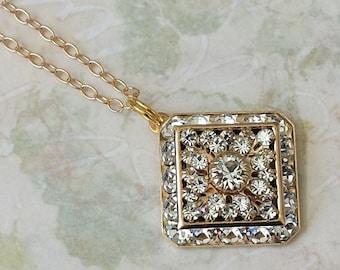 Crystal Rhinestone Necklace Swarovski Art Deco Necklace Victoria Crystal Necklace Crystal Rhinestone Necklace Gold Pendant Necklace
