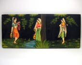 Painted Asian Indian Scene - Wall Hanging - Vintage Boho Decor
