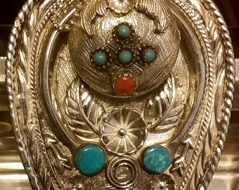 Beautiful Sterling Silver Navajo Style Bolo Tie,Turquoise, Coral