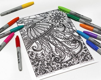 Mandala coloring, drawing #8993 printed on cardboard, coloring of relaxation, jellyfish