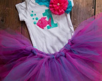 Pink and teal little fishy 1st birthday outfit with matching headband and hand tied tutu