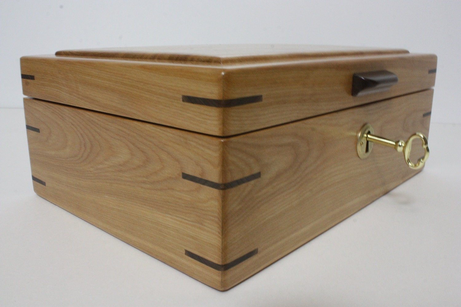 Large Red Birch Wood Box For Sale