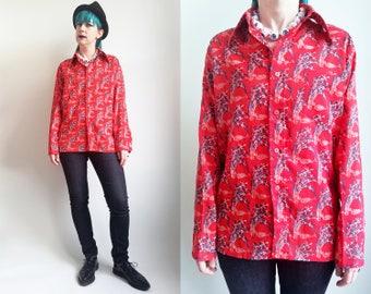 70s Clothing Disco Shirt Red White Blue Vintage Shirt Button Up Long Sleeve Shirt Floral Shirt Flower Print Shirt Mens Size Medium Large
