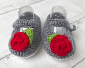 Newborn baby shoes, perfect baby gift, handmade baby shoes, aged 0-6 months - grey newborn baby gift, baby shower gift, booties, soft shoes