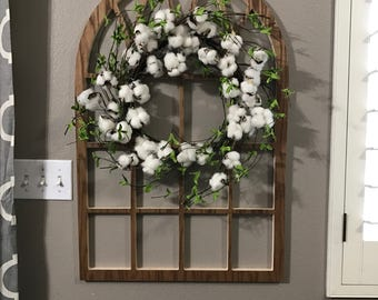 Brown Cathedral Window Frame, Wood Window Frame Wreath Hanger