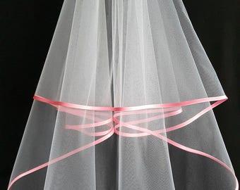 White Wedding Veil, Two Layers, Pink Satin Edging.