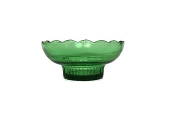 Vintage scalloped edge bowl EO Brody green glass dish made in USA