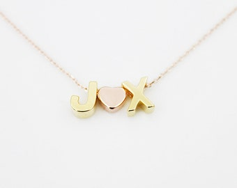 Initial Necklace Letters Necklace Personalized Necklace Bridesmaid Gift