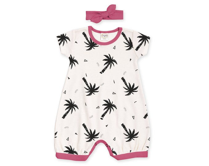 SPECIAL! Baby Girl Outfit, Newborn Baby Girl Outfit, Baby Girl Black White Bubble Romper, Palm Trees Romper Baby Summer Outfit RH520TCFU0000