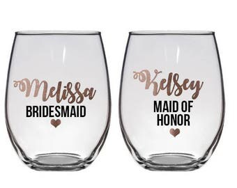Personalized Wine Glasses, Personalized Bachelorette Glasses, Bachelorette Party Wine Glass, Girls Night Out, Rose Gold Wine Glasses
