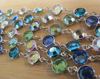 "Vintage Signed Swarovski Crystal Bezel Mermaid Colors 33"" Necklace"