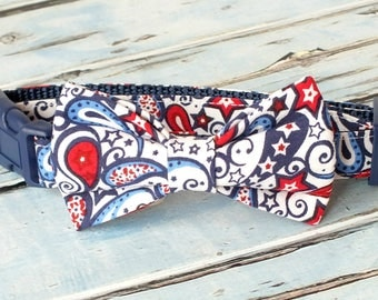 Patriotic Paisley Dog Collar Bow Tie set, pet bow tie, collar bow tie, wedding bow tie