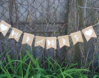WEDDING - Mr and Mrs Banner - Wedding Sign - Wedding Banner - Rustic Wedding