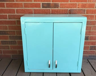 Vintage Small Metal Cabinet Kitchen Storage Bathroom Decor Turquoise Paint