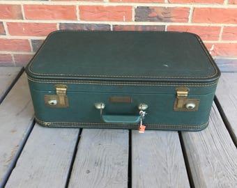 Vintage JC Higgins Luggage, Suitcase Dark Emerald Green Retro Travel