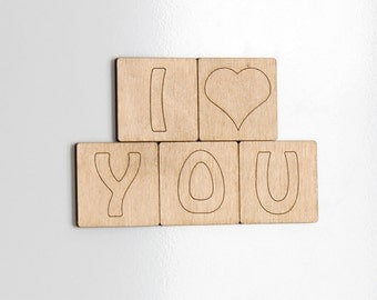 Fridge Magnets, Wooden Gifts, Love Gifts, Refrigerator Magnet, Romantic Gift, Valentine Gifts, Anniversary Gifts, Five Year Anniversary Gift