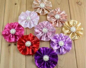Sequin Flowers with rhinestone pearls , Diy Hair Accessories