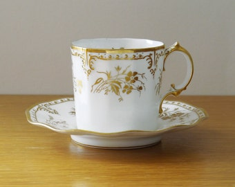 Vintage Royal Crown Derby Bone China Demitasse Coffee Can and Saucer, White and Gilt; 1950s Porcelain Royal St. James Coffee Cup and Saucer