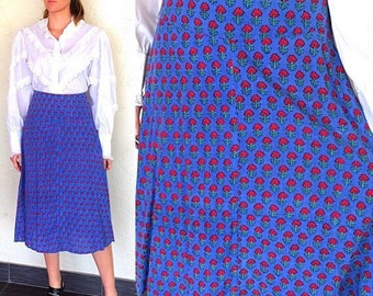 Boho Skirt India Skirt Indian Skirt India Wrap Skirt Vintage 70s India Block Print Skirt