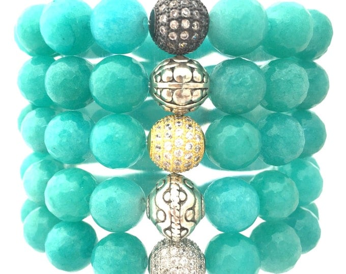 Amazonite Stone Bracelet,  A beautiful Natural Colored Gemstone.