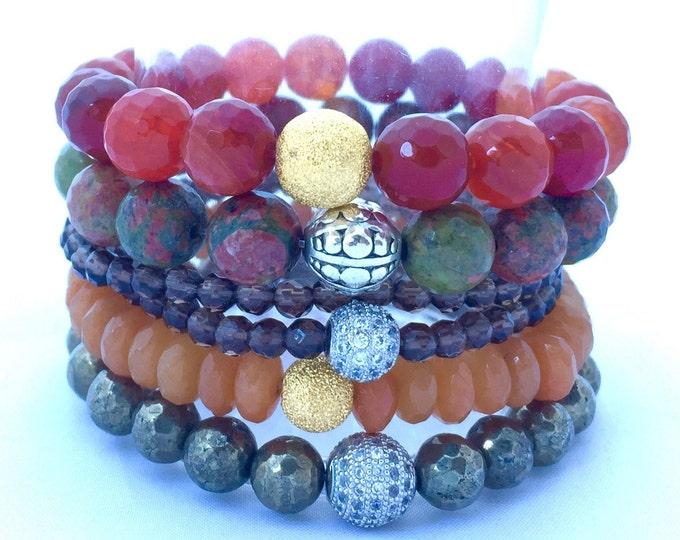Natures Colors Stack Bracelets of Agate, Unakite Jasper, Smokey Quartz and Pyrite
