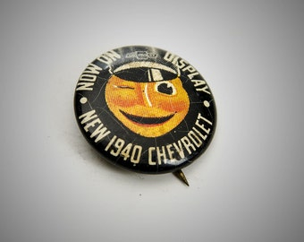 now on display new 1940 Chevrolet pin back button