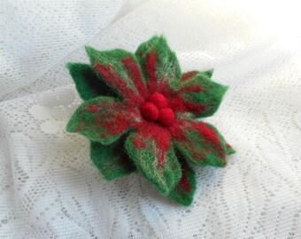 Felted flower brooch, Felt red green flower brooch with berry, green flower, brooches,unique,accessories,wool brooch,handmade felted jewelry